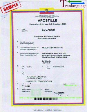 Tranlanguage Apostille Ecuador