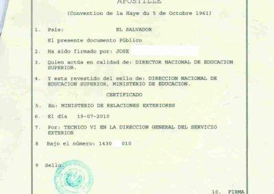 Tranlanguage Apostille El Salvador