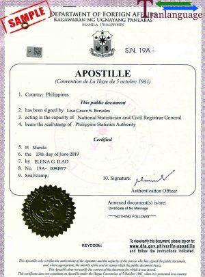 Tranlanguage Apostille Philippines