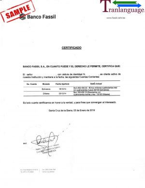 Tranlanguage Bank reference Letter Bolivia I
