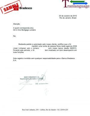 Tranlanguage Bank reference Letter Brazil I