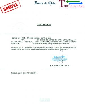 Tranlanguage Bank reference Letter Chile