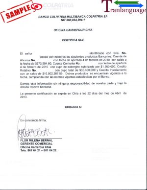 Tranlanguage Bank reference Letter Colombia
