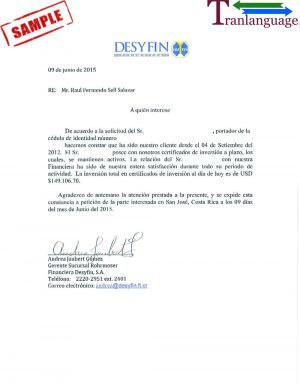 Tranlanguage Bank reference Letter Costa Rica