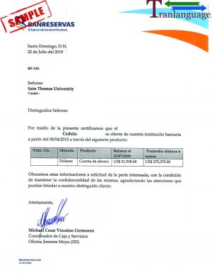 Tranlanguage Bank reference Letter Dominican Republic I