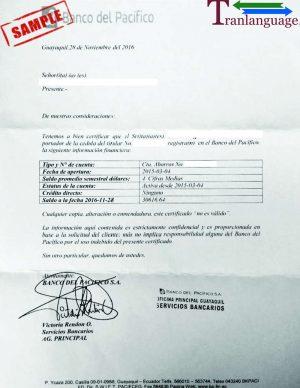 Tranlanguage Bank reference Letter Ecuador I