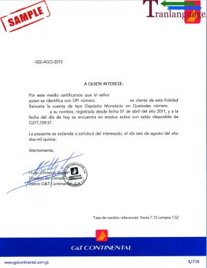 Tranlanguage Bank reference Letter Guatemala