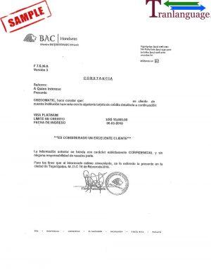 Tranlanguage Bank reference Letter Honduras