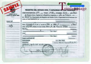 Tranlanguage Birth Certificate Argentina 1