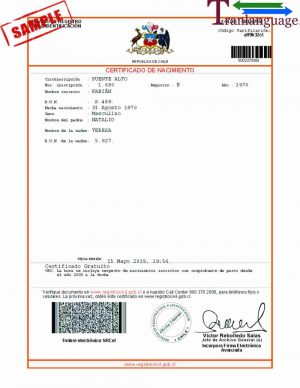 Tranlanguage Birth Certificate Chile I