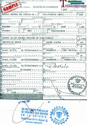 Tranlanguage Birth Certificate Colombia I