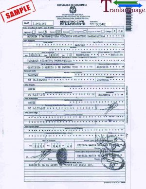 Tranlanguage Birth Certificate Colombia II