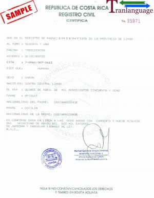Tranlanguage Birth Certificate Costa Rica
