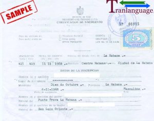 Tranlanguage Birth Certificate Cuba 2