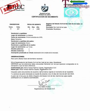 Tranlanguage Birth Certificate Cuba II