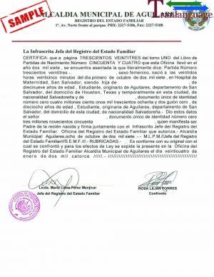 Tranlanguage Birth Certificate El Salvador