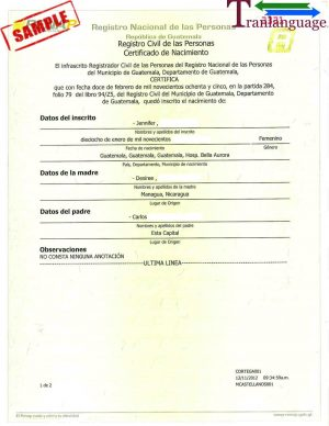 Tranlanguage Birth Certificate Guatemala 1