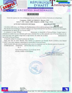 Tranlanguage Birth Certificate Haiti II
