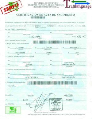 Tranlanguage Birth Certificate Honduras