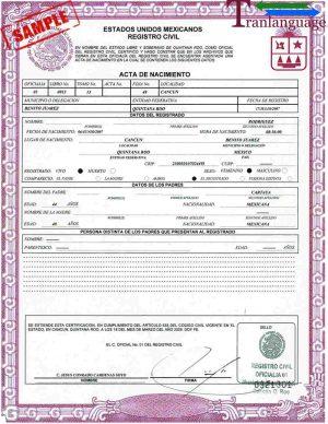 Tranlanguage Birth Certificate Mexico
