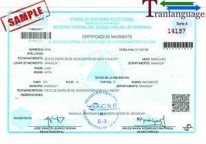 Tranlanguage Birth Certificate Nicaragua