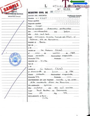 Tranlanguage Birth Certificate Spain 1