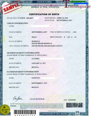 Tranlanguage Birth Certificate US - FL I