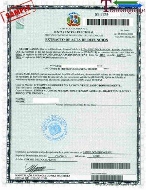 Tranlanguage Death Certificate Dominican Republic