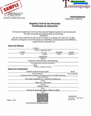 Tranlanguage Death Certificate Guatemala I