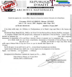 Tranlanguage Death Certificate Haiti I