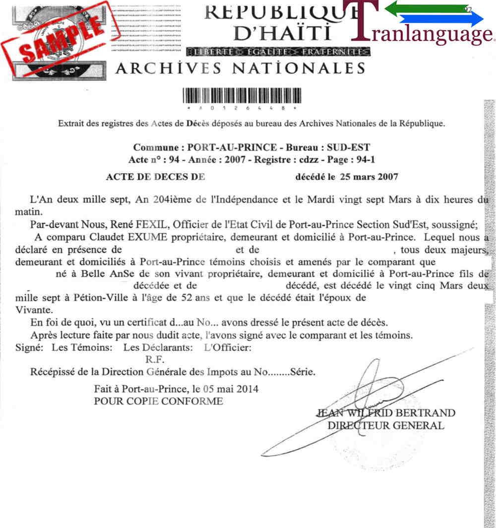 Haitian Birth Certificate Translation