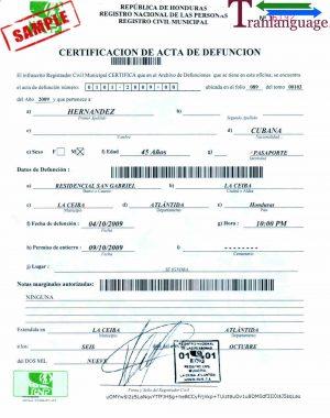 Tranlanguage Death Certificate Honduras