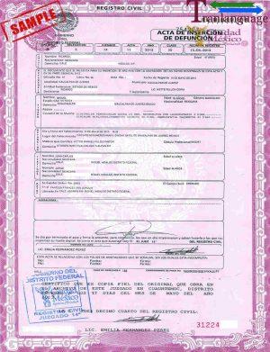 Tranlanguage Death Certificate Mexico