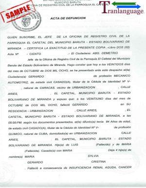 Tranlanguage Death Certificate Venezuela I