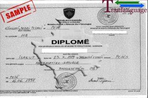 Tranlanguage Diploma Albania