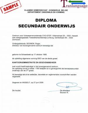 Tranlanguage Diploma Belgium