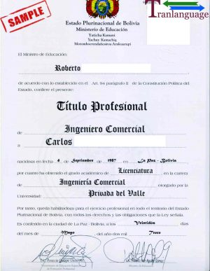 Tranlanguage Diploma Bolivia