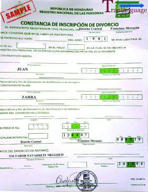 Tranlanguage Divorce Certificate Honduras