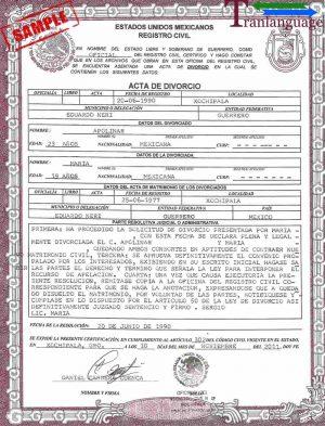 Tranlanguage Divorce Certificate Mexico