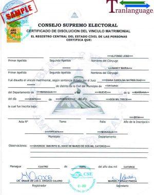 Tranlanguage Divorce Certificate Nicaragua