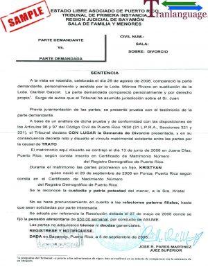 Tranlanguage Divorce Certificate Puerto Rico