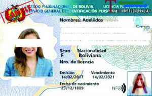Tranlanguage Driver License Bolivia
