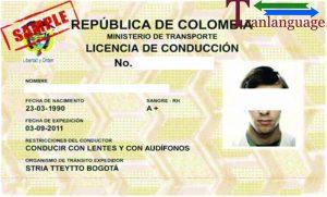 Tranlanguage Driver License Colombia