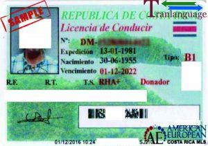 Tranlanguage Driver License Costa Rica