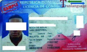 Tranlanguage Driver License Dominican Republic