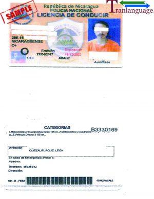 Tranlanguage Driver License Nicaragua