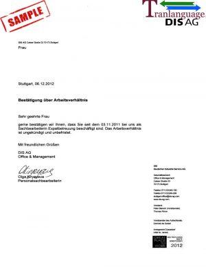 Tranlanguage Employment Letter Germany