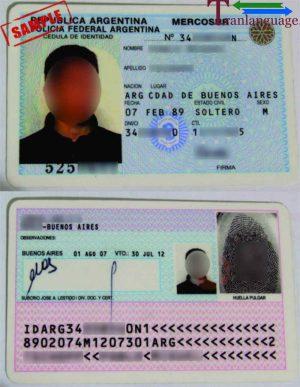 Tranlanguage Identity Card Argentina I