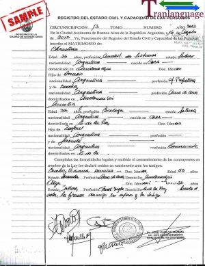 Tranlanguage Marriage Certificate Argentina
