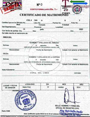 Tranlanguage Marriage Certificate Bolivia